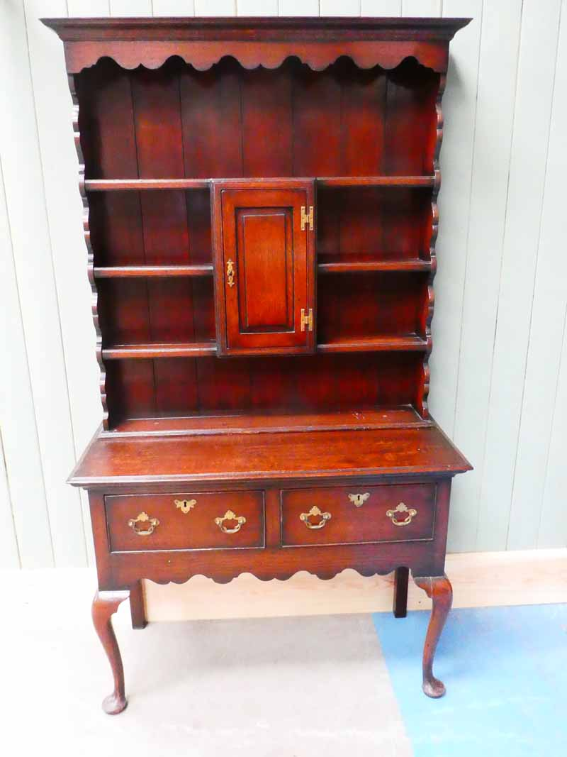 A George III oak dresser , the plate rack with central cupboard surmounts the two drawer base on - Image 2 of 2