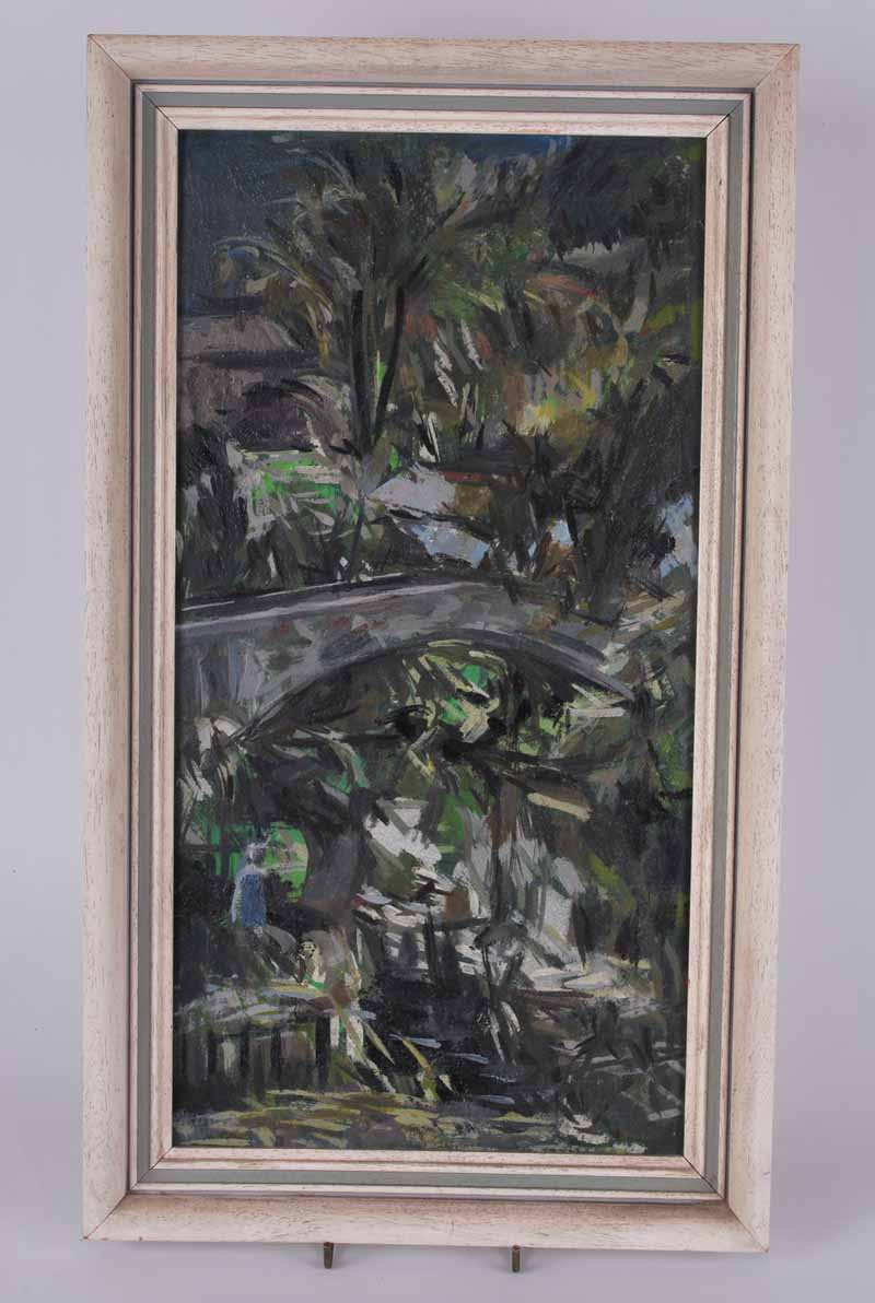 Daivd Wild Bridge and Trees artists name and address verso, oil on board 43.5 x 22.5cm - Image 2 of 3
