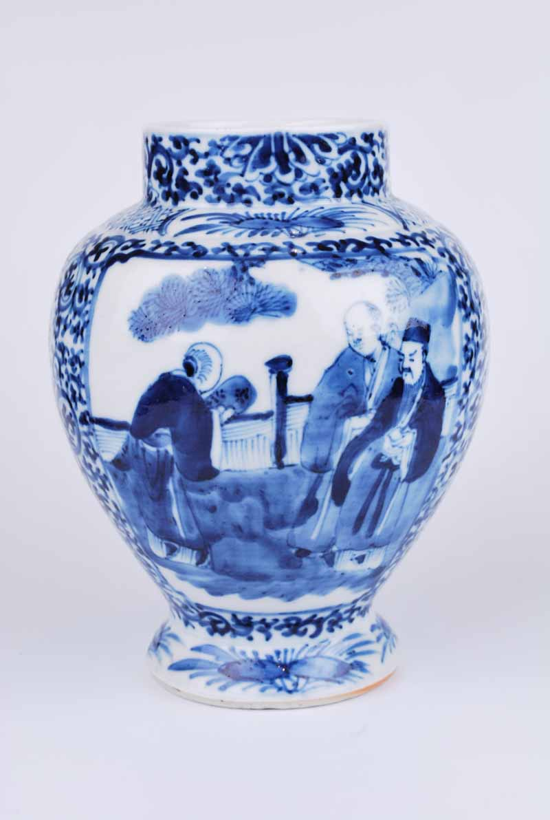 19th Century Chinese porcelain obovoid vase with figural panels to a foliate arabesque ground