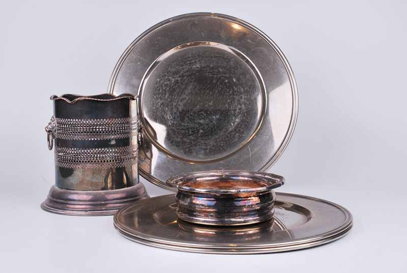 A 19th century bottle coaster with serpentine edge, cedar base and white metal crested button; - Image 2 of 4
