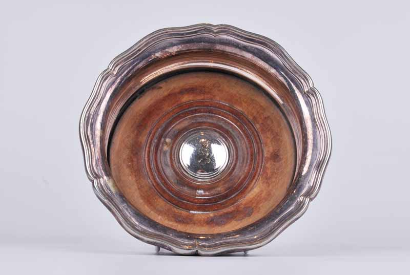A 19th century bottle coaster with serpentine edge, cedar base and white metal crested button; - Image 3 of 4