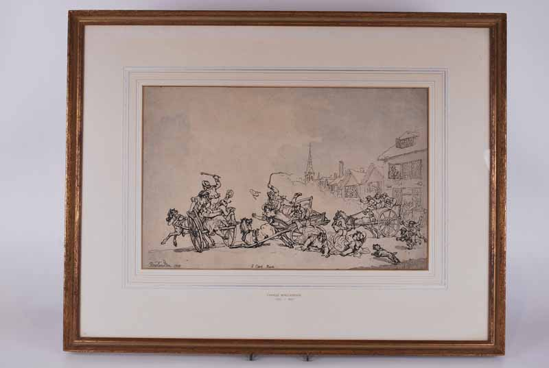 Thomas Rowlandson (London 1756-1827) A cart race, 1788 signed 'Rowlandson' in the etching plate