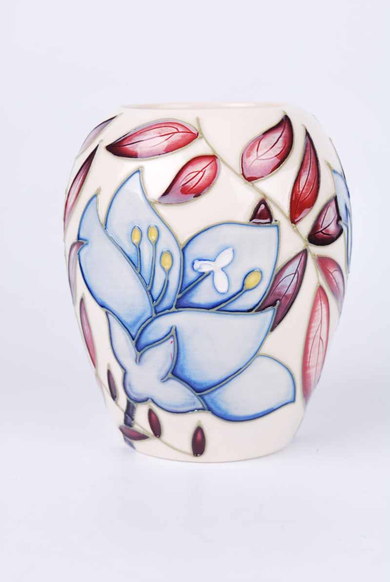 A Moorcroft small obovoid vase by Alicia Aimson in the Jacob's ladder pattern and dated 2004 to