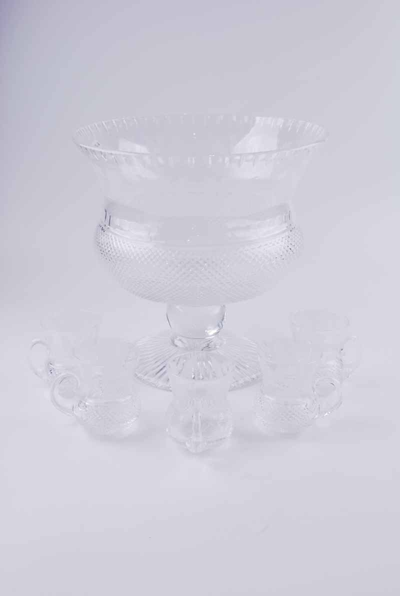 An Edinburgh Crystal 'Thistle' pattern punch bowl, of thistle bud form with etched thistle