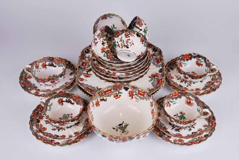 A Copeland Spode porcelain Imari eight setting tea set of ribbed form comprising eight cups, saucers