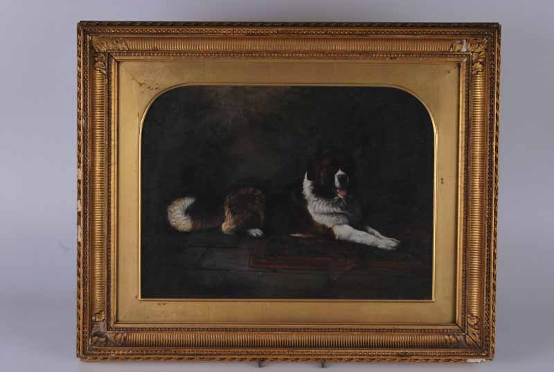 Attr. George Armfield (1803-1893), oil on canvas St. Bernard lay on creased rug 'Missus Pease',