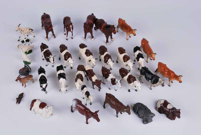 Collection of approx 30 Britains and J hill diecast farm animals mainly cows and horses