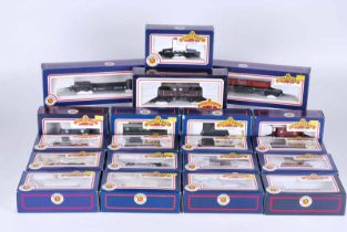 Collection of twenty railway goods wagons, all boxed by Bachmann 30 Tonne bogie bolster wagon,