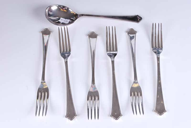 Elkington silver plate table settings for six places still in shipping tubes & serving spoon - Image 2 of 3