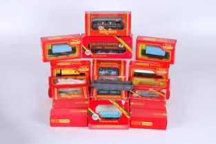 Collection of 19 Hornby Tri-Ang railway goods wagons boxed including fish van horse box, milk tank