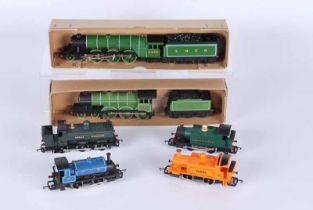Six Hornby railways Double O Locomotives, no boxes C.R Pug 0.4.0, G.W.R class 101 Holden 0.4.0 G.W.R