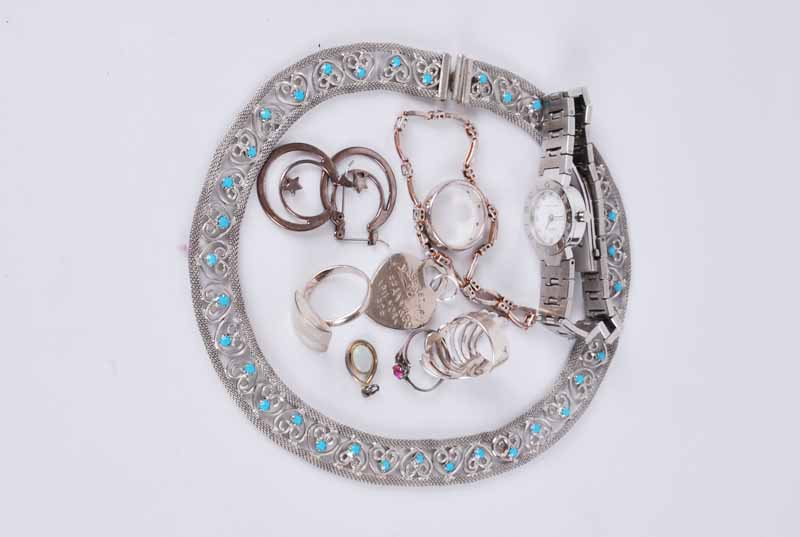 Bulgaria style ladies Quartz wristwatch & Tiffany style pendant mixed white metal rings, necklace