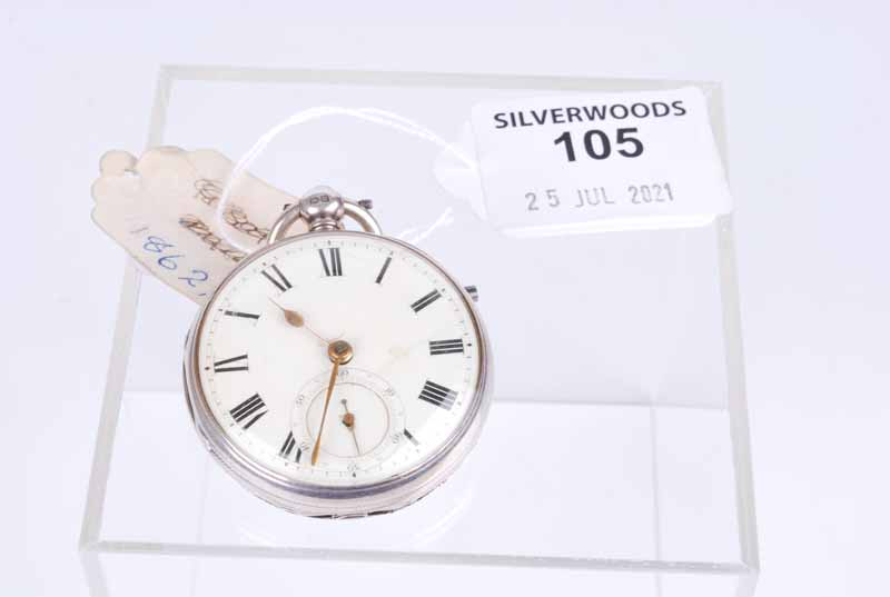 Silver open faced fob watch