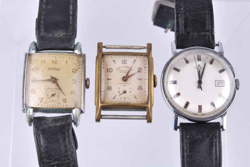 A tank style gentleman's Roamer wristwatch, on leather strap; together with a similar example by