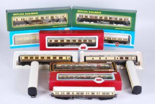Collection of twelve railway carriages, seven boxed by Airfix, Replica, Dapol, mainline