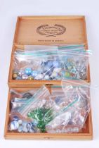 Collection of mid-century glass & porcelain marbles