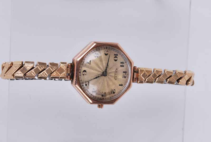 Rolex - a vintage 1930s lady's octagonal 9ct gold wristwatch, the silvered dial with Arabic - Image 3 of 3
