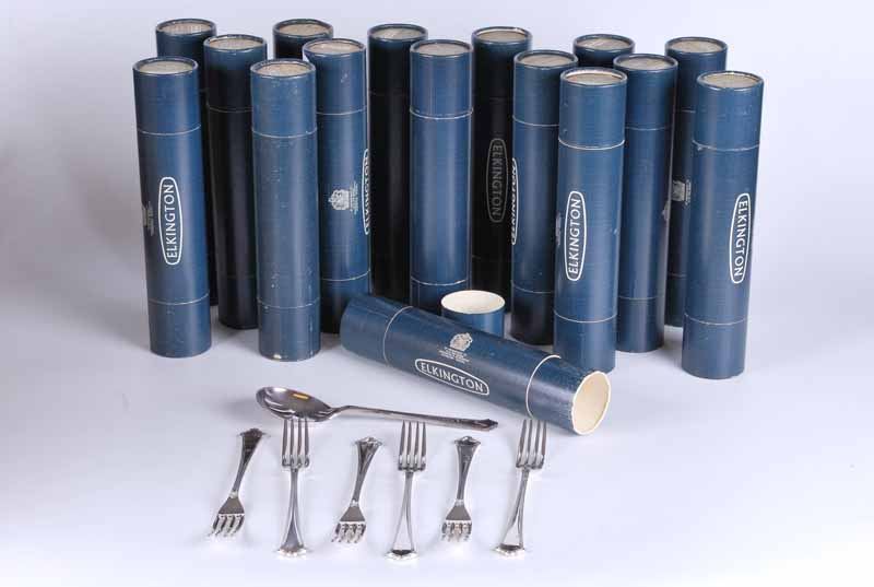 Elkington silver plate table settings for six places still in shipping tubes & serving spoon