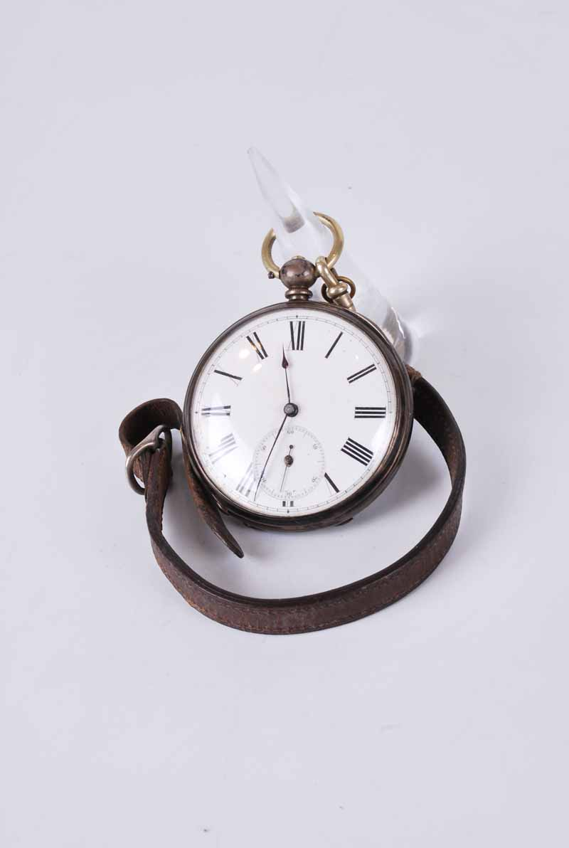 1862 silver cased open face pocket watch, white face, seconds dial with key - Image 2 of 2