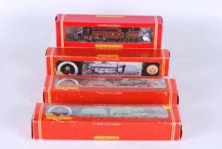Four Hornby railways Double O Locomotives, all boxed R380 S.R schools class V Stowe, R392 G.W.R