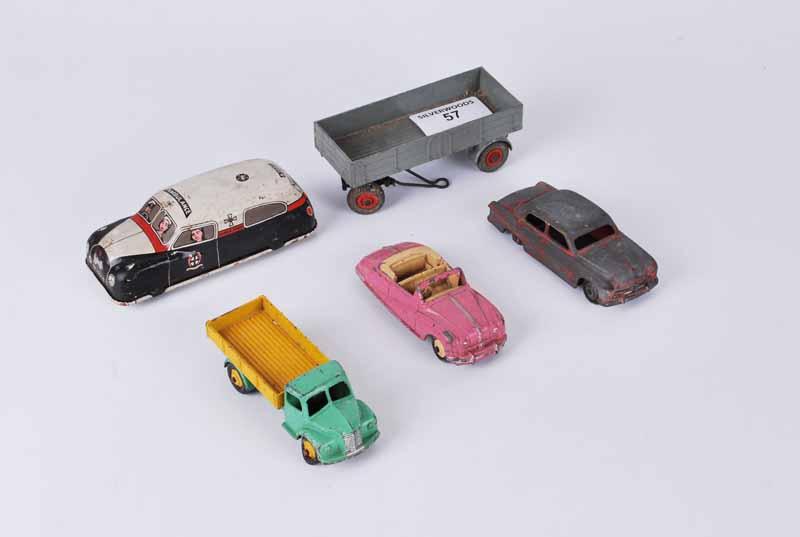 Five play worn toys, Dinky's Austin Atlantic, Dodge, Ford Sedan, 428 trailer, Tinplate ambulance