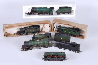 A collection of seven Double O Locomotives, all unboxed Hornby G.W.R 4.6.0 Kneller Hall, Hornby G.