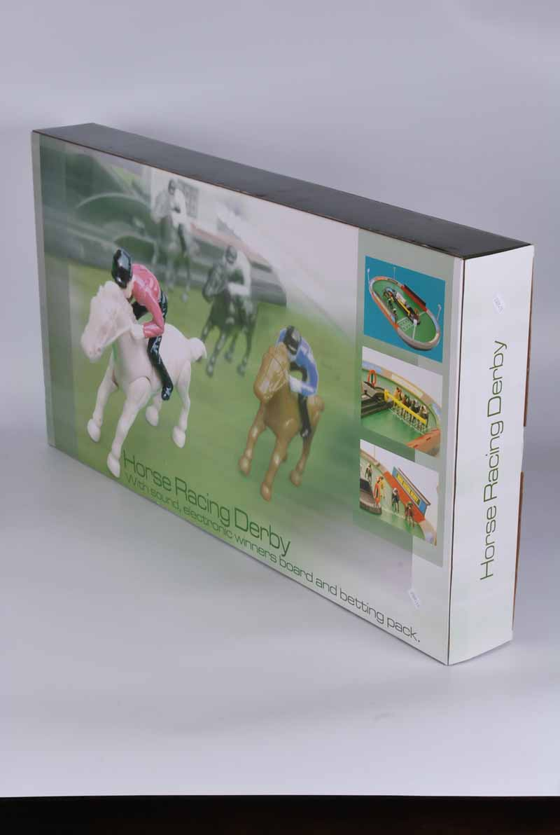 A boxed tabletop horse racing derby game
