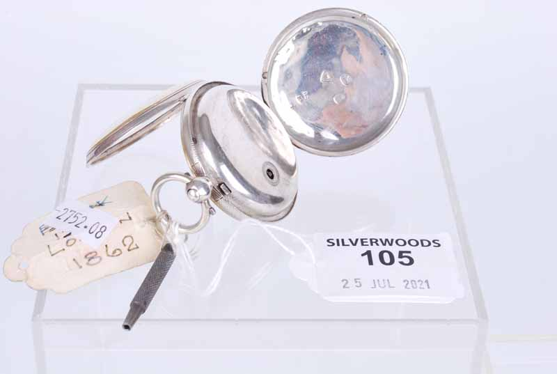 Silver open faced fob watch - Image 2 of 2