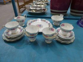 A Foley bone china 21 piece tea service in the Cornflower pattern for six places.