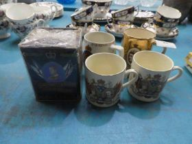 Four Royal Commemorative Mugs, George VI and later, 1977 Siver Jubille Tea Canister and contents