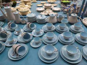 124 piece poole pottery tea service in sky blue and Beige