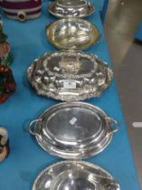 A good quality Walker & Hall chafing dish with Rococo handle and rim; together with two smaller