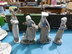 Lladro girl and lamb, Lladro girl with ducks and 2 Nao girls