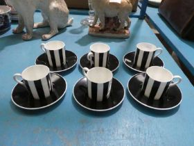 A Wedgwood black and white 12 piece coffee service.