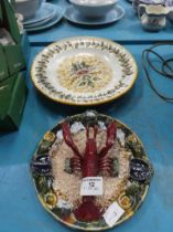 A Portuguese Pallisy style lobster plate and a faience plate.