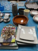A mixed lot of ceramic tableware, cookbooks and brass warmer etc
