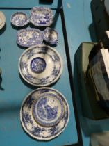 6 x Fentons Flow blue dinner plates and six items of blue and white including pickle dishes.