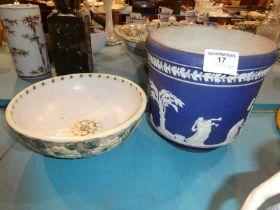 An Adams Blue Jasper pottery plant holder and a Denby fruit bowl