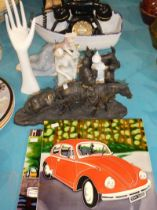 Fifteen items including vintage telephone, two decorative tiles, mixed figures and decorative