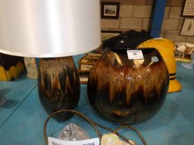 A Poole Pottery table lamp and matching oval shaped vase