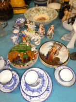 A selection of blue and white teaware, mixed plates and Staffordshire figures etc