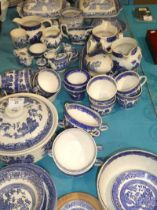 A mixed lot of blue and white tableware and childrens tableware