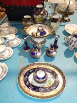 Twelve items of Noritake dressing table ware including vases, table centrepiece etc.