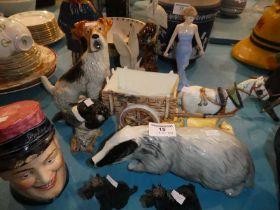 Ten ceramic animals and figures including Beswick Magpie