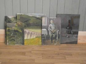 Edward Heeley (1935-2011)six oil on board studies, some unfinished 50.5cm x 38cm and smaller (6)