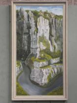 M. Sparling (20th century) oil on board Cheddar Gorge, signed and dated '75 lower right 73.5cm x