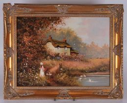 Les Parson (20th century) Girl on a path by a lake, oil on canvas, in a gilt frame, 29cm x 39cm