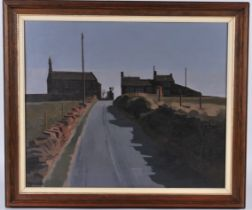 Russell Howarth (British, 1927-2020) oil on board 'Delph Heights' in Saddleworth, signed lower