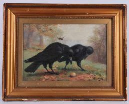 Thomas E. Marson (fl, 1899-1900) oil on canvas of two ravens on the ground with more in background