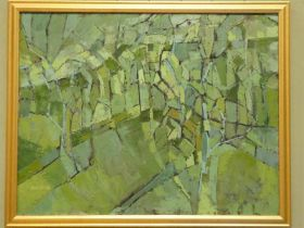Edward Heeley (1935-2011) oil on canvas abstract landscape The Orchard signed lower left, 71.5cm x